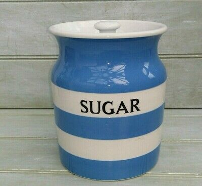 T G Green Cornishware Large Sugar Storage Jar Black Shield Mark Lid • 15£
