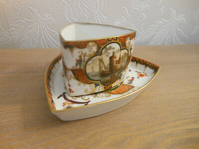 Dresden / Meissen Style Cup And Saucer Triangluar Section - Blue AR Marks • 116£