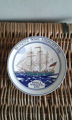 Poole Pottery 'Poole Whaler' Hand Painted Ship Plate Beckford Bowl Finalist 1981 • 20£