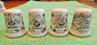 Brambly Hedge Four Seasons Thimbles. Spring, Summer, Autumn, Winter. Perfect • 13.50£