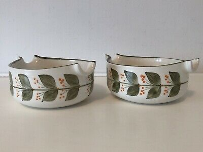 2 X Jersey Pottery - Sauce Pouring Bowls - Floral Green Leaves - Signed C.L. VGC • 4.50£