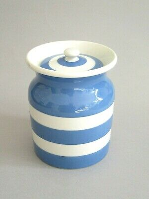 Vintage Retro Blue & White T G Green Cornishware Storage Jar Green Shield Mark • 9.99£