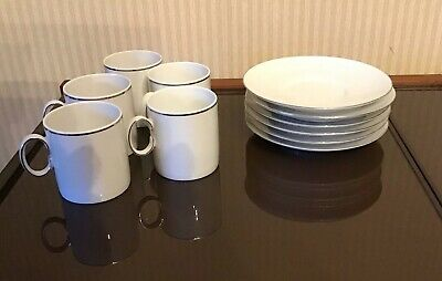 Thomas Platinum Thin Silver Line Coffee Cups And Saucers REDUCED • 10£