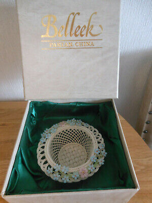 Belleek Irish Porcelain Parian China Reticulated Basketweave Floral Dish Or Bowl • 39.99£