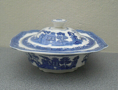 Vintage Blue And White Old Willow Lidded Tureen Serving Dish Pretty Square • 12.50£
