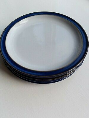 Denby Imperial Blue 4 Side Plates, 17.5 Cm Diameter, Perfect • 2.20£