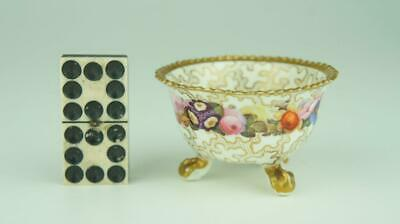 Rare Early 19thC Rockingham, Coalport Miniature 3 Footed Bowl, Seaweed, Flowers • 9.99£