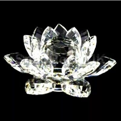 Large Clear Crystal Lotus Flower Ornament With Gift Box  Crystocraft Home Decor • 12.49£