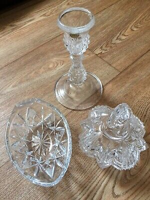 HALF PRICE..French Crystal Glass Set Candle Holder Serving Bowl Trinklet Holder • 7.49£