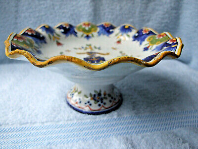 Antique Rouen Faience Tin Glaze Pottery Footed Dish With Armorial Crest • 29.99£