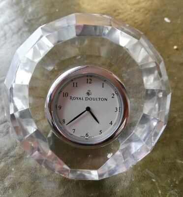 ROYAL DOULTON CRYSTAL MANTLE CLOCK NEW BOXED (battery Needed) • 10£