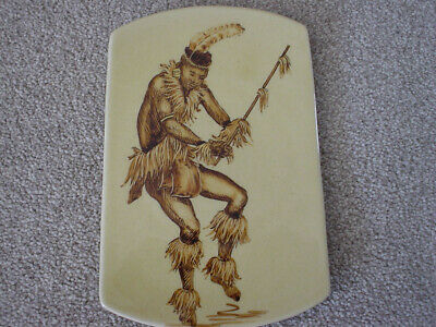 DROSTDY WARE AFRICAN WARRIOR PLATE HAND PAINTED 1950s FRANCE MAROT • 3.50£