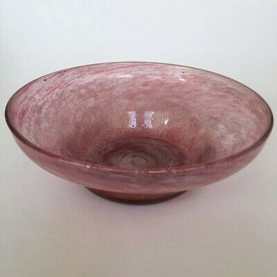 "Vintage Nazeing Stepped Mottled Pink Glass 7.5"" Bowl • 14.95£"