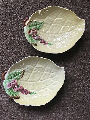 Pair Of CARLTON WARE Aus Design Small Yellow Leaf Shaped Dishes • 6£