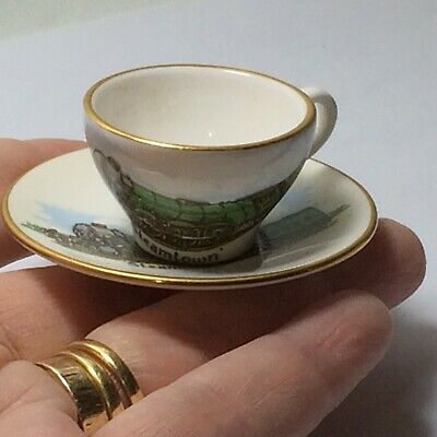 Caverswall England Miniature Cup And Saucer 'Steamtown' Flying Scotsman Train • 3£
