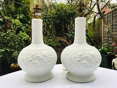 Rare Portmeirion Bisque Pair Of Lamp Bases 30 Cm Height • 18£