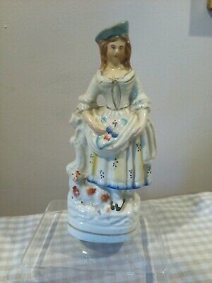 Antique Staffordshire Flat Back Lady Blue Hat Calf Or Dog By Feet For Resto • 2.50£