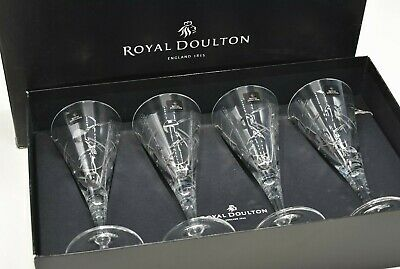 Royal Doulton Crystal Lunar Cut Set Of Four 220ml / 21cm Wine Glasses ~ Boxed • 55£