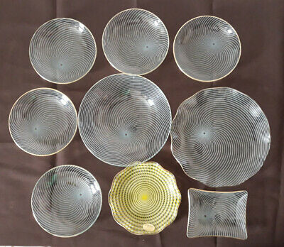 Collection Of Nine Mixed Mid-Century Chance Glass Swirl Plates And Dishes • 15£