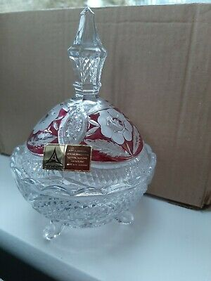 Anna Hutte Bleikristall Lead Crystal Bonbon? Lidded Dish. Clear, Cranberry Glass • 5.99£