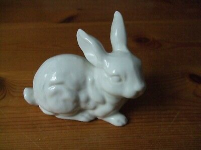 Mystery Porcelain White Rabbit Small Ceramic 4 Inches Long • 3£