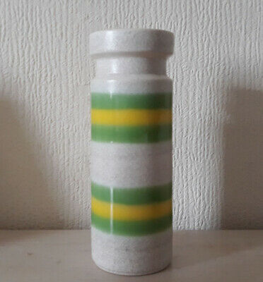 Vintage Yellow And Green Banded West German 172-25 Vase • 10£