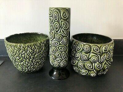 Collection Of Vintage Sylvac Pottery Includes 2 Green Planters + Vase #605 • 5.69£