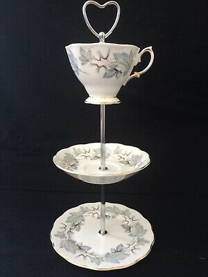 Vintage English Royal Albert 'Silver Maple' 3 Tier Cake Or Jewellery Stand. • 10£