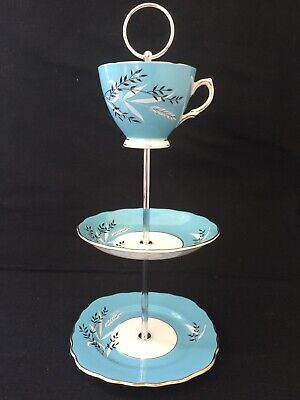 Vintage English Colclough Blue Leaf Bone China 3 Tier Cake Or Jewellery Stand. • 10£