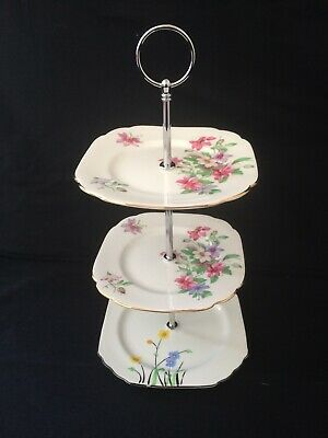 Vintage English Bone China 3 Tier Cake Or SandwIch Stand. Royal Albert China. • 10£
