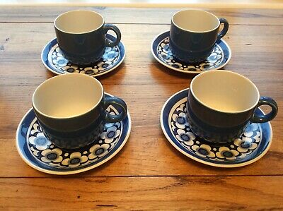 Four Vintage Blue And White Alfred Meakin 'harmony' Design Cups And Saucers • 7.50£