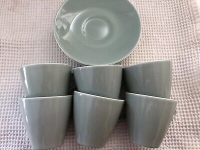 Vintage Poole Pottery Cup And Saucer Celadon Green X 6 • 20£