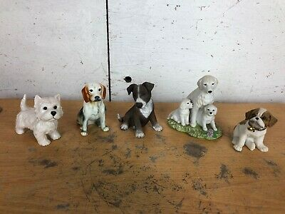 Job Lot Of Vintage Dog Ornaments - China, Porcelain, Westie, Beagle • 14.99£