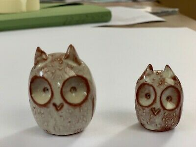 Vintage Pair Of Pottery Owls • 8£