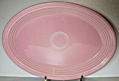 Vintage Fiesta Ware Homer Laughlin China Co USA Large Oval Pink Plate • 25£