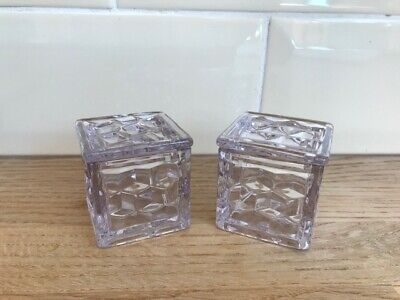 Fabulous Pair Of American Fostoria Pale Orchid Cubed Square Pomade 2  Boxes  • 135£