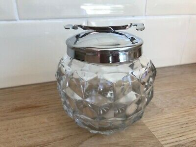 Great American Fostoria Clear Glass Cubed Round Sugar With Chrome Tongs 9.5cm B • 65£