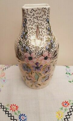 Vintage Royal Winton Hand Painted Vase C1950's Gold & Floral Nineva  • 12£