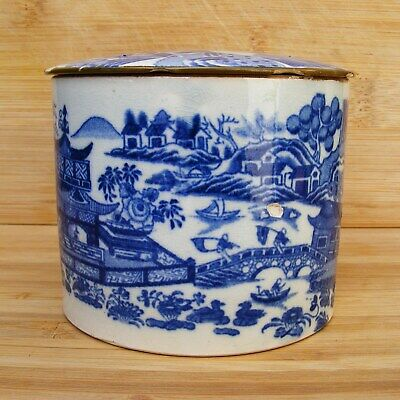 English - Chinoiserie Willow Pattern Pot With Lid - Early 18th Century - Damage • 80£