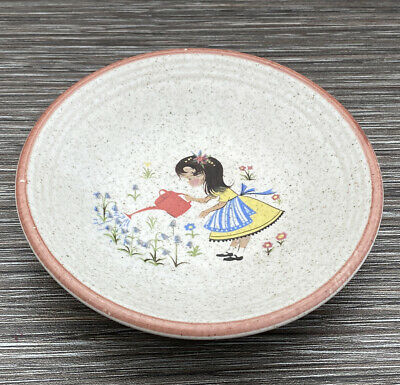 1970's Purbeck Pottery Bowl Gardening Girl Design • 9.95£