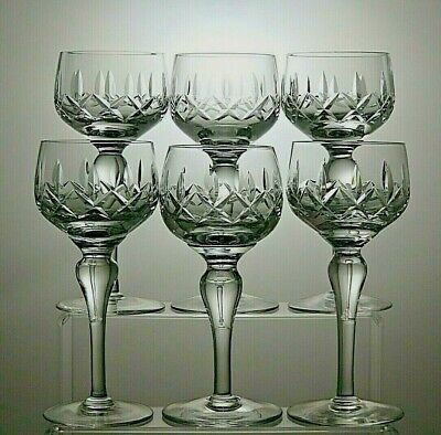 Stuart Crystal  Carlingford  Cut Hock Wine Glasses Set Of 6 - 7  Tall • 49.99£