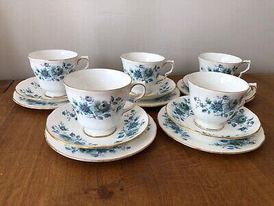 Attractive Queen Anne Bone China Tea Set Pattern 8500 With Blue And Green Flower • 20£