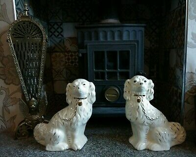 A Pair Of White Victorian Style Staffordshire Dogs - Fireside Decorative Antique • 24.99£