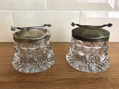 Great Pair Of Sugar Tongs And Sugar Pots Fostoria American Clear Cubed Glass  • 38.99£