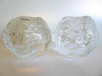 PAIR OF VINTAGE KOSTA BODA SNOWBALL CANDLE HOLDERS 80mm • 20£