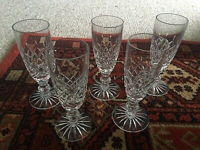 Set Of 5 Crystal Cut Glass Champagne/Prosecco Glasses/Flutes Celebration Gift • 10£