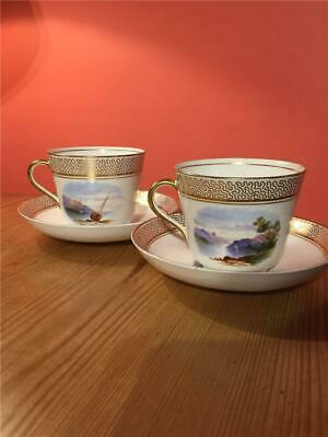 2 X Victorian Large Tea Cups And Saucers Hand Painted With Lakeland Scenes Gilt • 14.99£
