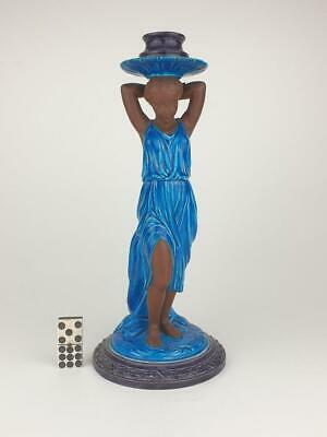 Rare Royal Worcester Faience, Majolica Classical Girl Candle Stick, Circa 1870 • 210£