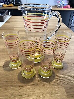 Vintage Glass Lemonade Pitcher Or Water Jug 1950s Retro Red And Yellow Stripes. • 11.30£