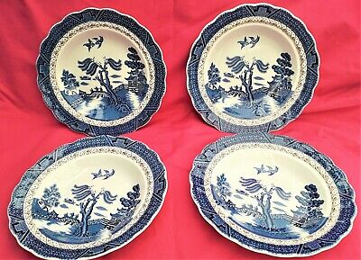 4 Booths Side Plates.  Real Old Willow Brown Trellis Pattern A8025 Free UK Post • 13.50£